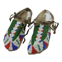 Sioux Plains Indian Fully Beaded Antique Moccasins