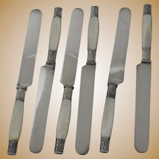 Unusual Mother of Pearl Sterling Knives set of 6