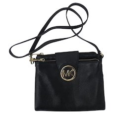 Michael Kors Black Pebbled Black Leather Cross-body Purse