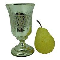 Mercury Glass Vase Frosted Geometric Design Gold Interior