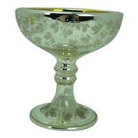 Mercury Glass Round Footed Bowl Frosted Bird and Flowers Gold Interior