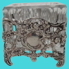 Silver Repousse and Glass Salt Dip