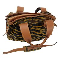 Cavalcanti Leather and Calf Hide Animal Print Shoulder Bag Italy