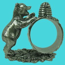 Reed & Barton Silverplated Napkin Ring Bear Cub and Bee Hive