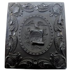 Historic Gutta Percha Case Eagle Constitution and the Law, Federal Shields with Ambrotype of Girl
