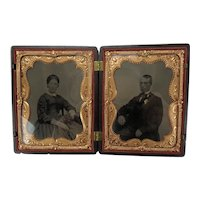 Ambrotypes Hand-tinted Quarter Plates Man and Wife Gutta Percha union Case