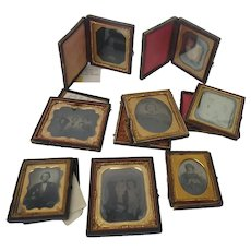 Nine Ambrotypes and Daguerreotypes One Family in Leather Cases