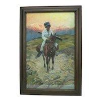 Cossack on Horseback, Tatar, Tartar, Watercolor, signed R. Peter 1920