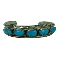 Navajo Native American Turquoise and Sterling Cuff Bracelet