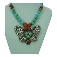 Turquoise Coral and Sterling Butterfly Necklace