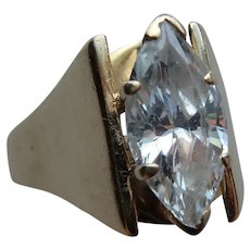 Vintage 14K Yellow Gold and Large Marquise Cut CZ Ring size 8½