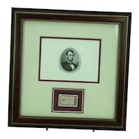 Abraham Lincoln Engraving and 1960 4 Cent US Postage Stamp Framed