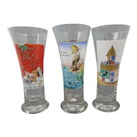 Georges Recon Three Hand-Painted Pilsner Beer Glasses Ne Buvez Jamais d'Eau and 2 others