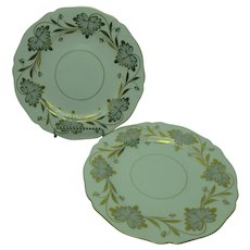 Tiffany Grosvenor Rosslyn Gray Spode 9 inch Luncheon Plates set of 2