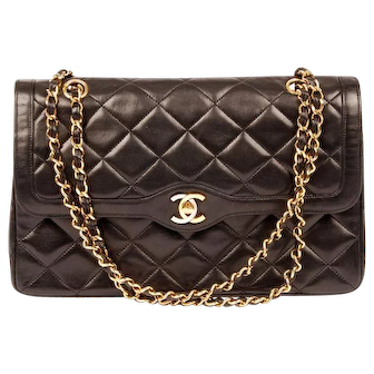 Chanel Classic Flap Paris Double Chain Black 5394 Lambskin Leather Shoulder Bag