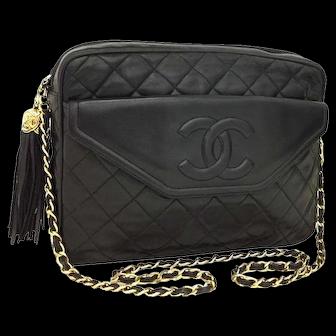 Authentic Chanel-quilted-matelasse-fringe-cc-logo-lambskin-chain-shoulder-bag Black 5651