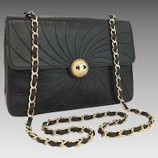 96a9f0156729 Authentic Chanel Classic Flap Black Vintage Wave Rare Lambskin Shoulder Bag  5676