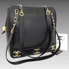 082833b9e787 Authentic Chanel Shopping 6 CC Gold Plated Motifs Black Caviar Leather Tote  5730