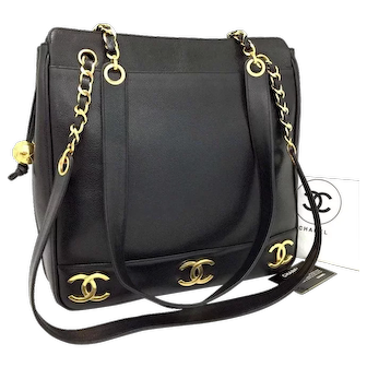 Authentic Chanel Shopping 6 CC Gold Plated Motifs Black Caviar Leather Tote 5730