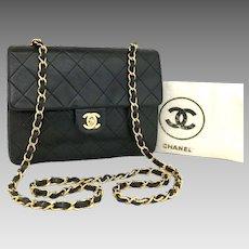 Chanel Classic Mini Single Flap 20 Black Lambskin Leather Shoulder Bag 5731