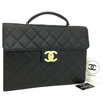 Authentic Chanel Caviar Flap Bag with Top Handle Briefcase 5732