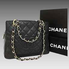 7be42008e145 Chanel Caviar Petite Timeless Quilted Matelasse Cc Logo Tote Near New 5785.  The Lady Bag
