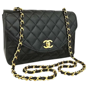 Chanel Classic Flap Quilted Half Moon Black 5795 Lambskin Shoulder Bag