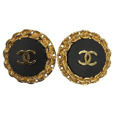 Chanel Black Gold Plated 94p Vintage Cc Earrings 6059