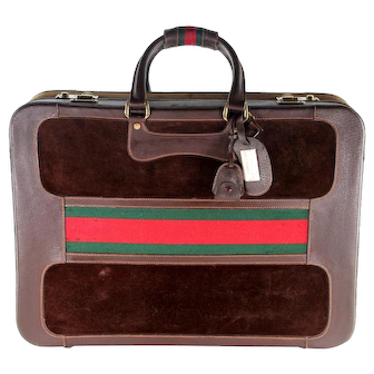 Gucci Vintage Suitcase with Web Brown 6301