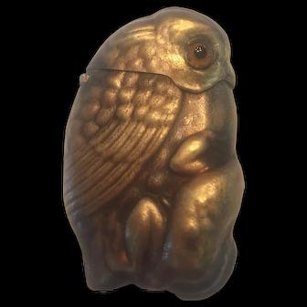 Victorian Figural Owl with Frog Match Safe Vesta