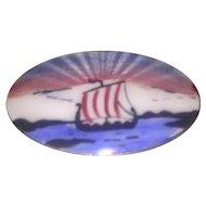 Norwegian Sterling Silver Enamel Viking Ship Pin Brooch