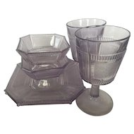 "Two each: goblet, 7"" plate and 4"" footed sauce dish EAPG Pleat and Panel"