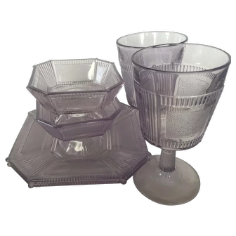 """Two each: goblet, 7"""" plate and 4"""" footed sauce dish EAPG Pleat and Panel"""