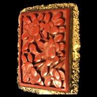 1930 Vintage Chinese  Carved Cinnabar brooch