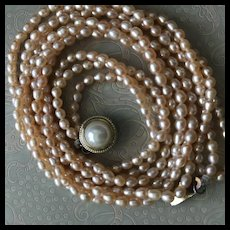 Gorgeous Peaches and Cream Freachwater Cultured Pearl Necklace