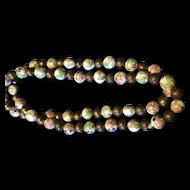 Vintage Chinese Gild Filigree Porcelain Beads Hand painted beads Necklace