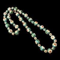 Vintage Turquoise Blue Cloisonné Enamel Beads Necklace