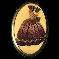 Sweet Vintage Large Oval Pin Brooch-Hand Embroidered Silk Crinoline Lady