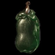 Vintage Chinese Double Side Hand Carved Dark Green Nephrite Jade Pendant