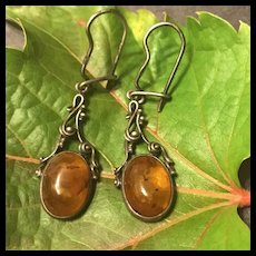 Vintage Natural Baltic Amber Sterling Silver Pierced Earrings
