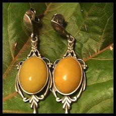 Vintage Sterling Silver Butterscotch Amber Pierced Earrings