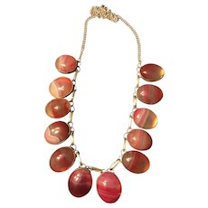 Chunky Ruby White Banded Agate Handmade Gemstone 22 Inch Necklace