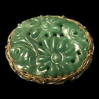 Vintage Chinese Gild Enamel Filigree Sterling Silver Handmade  Dark Green Floral  Jade/Jadeite Brooch