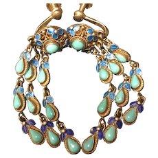 Art Deco 1920's Chinese Gild Sterling Silver Filigree Enamel Turquoise Earrings
