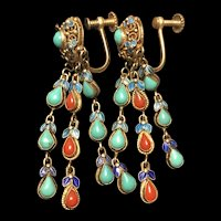 Art Deco 1920's Chinese Gild Sterling Silver Filigree EnamelTurquoise & Coral  Earrings