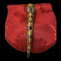 Antique 1910s Chinese Export Enamel Fingernail Guard w/ Butterfly
