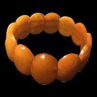 Vintage Butterscotch Egg Yolk Amber Stretch Cuff Bracelet