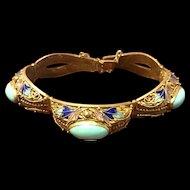 Vintage Chinese Silver Turquoise Floral Enamel Gilt Filigree Bracelet