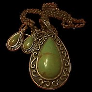 Vintage Large Green  Turquoise Pendant Necklace & Earrings Set