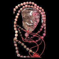 Estate Vintage Chinese Double-Sides Hand Carved Pink Tourmaline Bat And Melon Pendant With Pink Tourmaline Beads Necklace